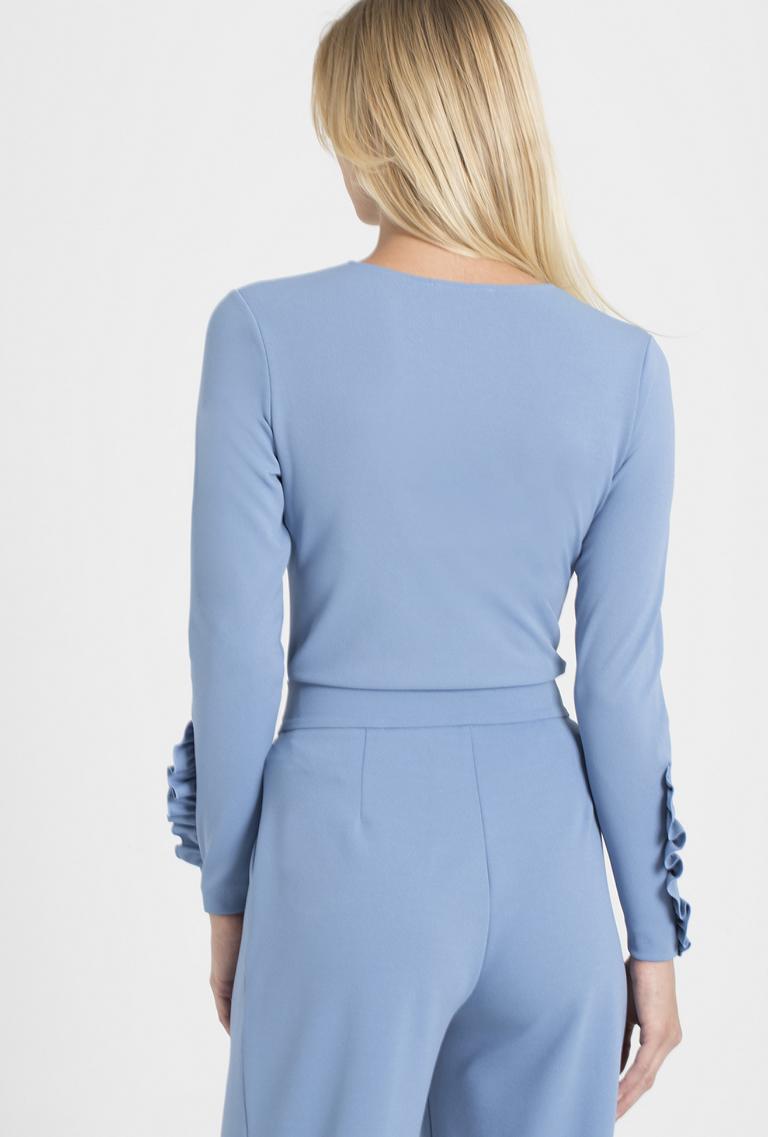 Rückansicht von Ana Alcazar Sweater Pania Blau  angezogen an Model