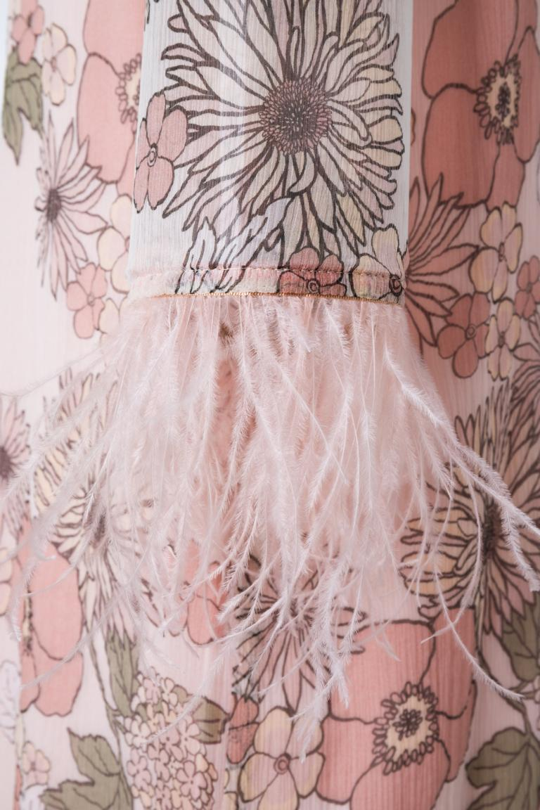Detailed view of Ana Alcazar Feather Silk Dress Naris