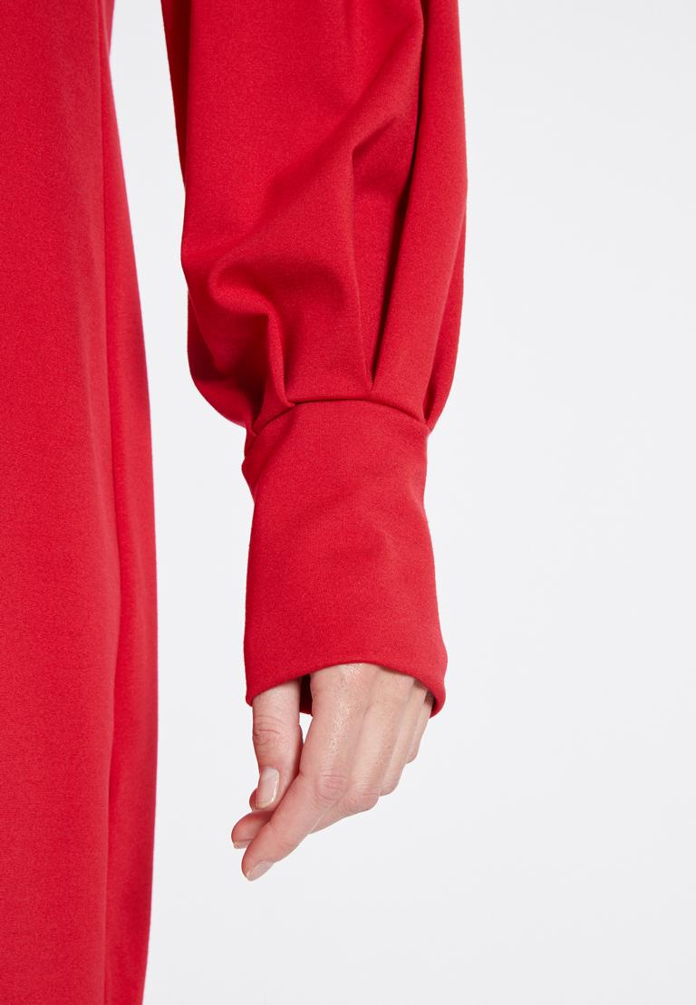 Detailansicht von Ana Alcazar Puffärmel Kleid Resyea Rot