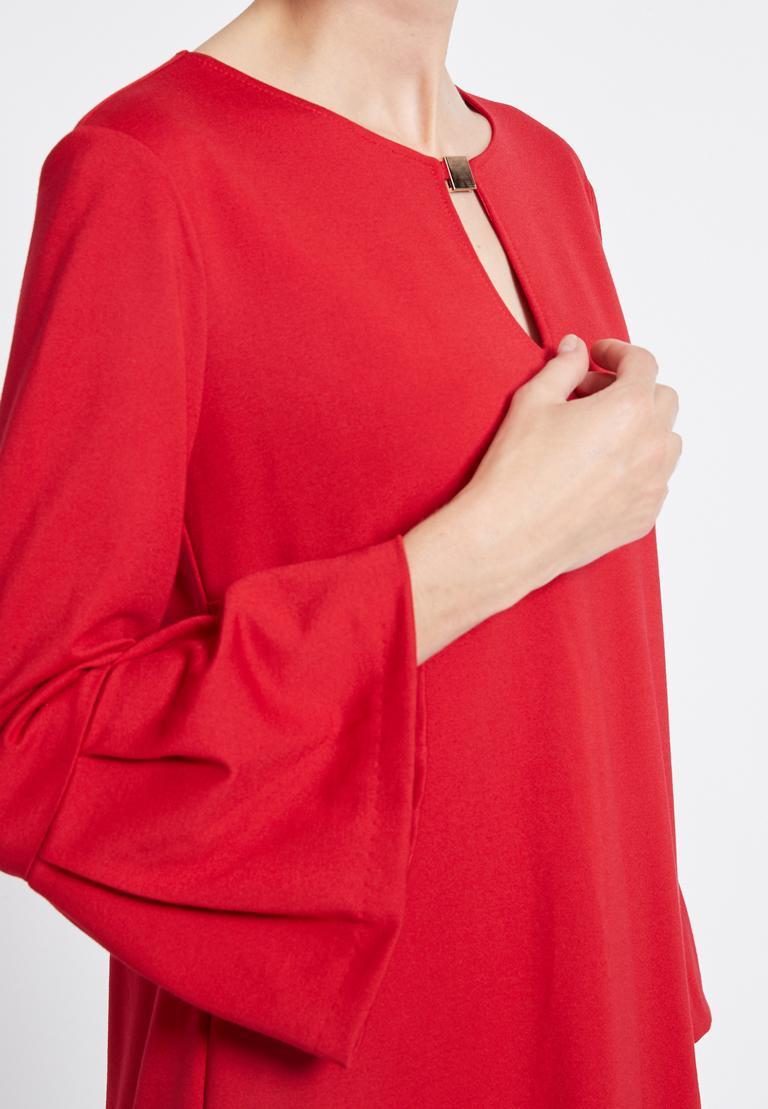 Detailansicht von Ana Alcazar Volantärmel Kleid Rasyea Rot