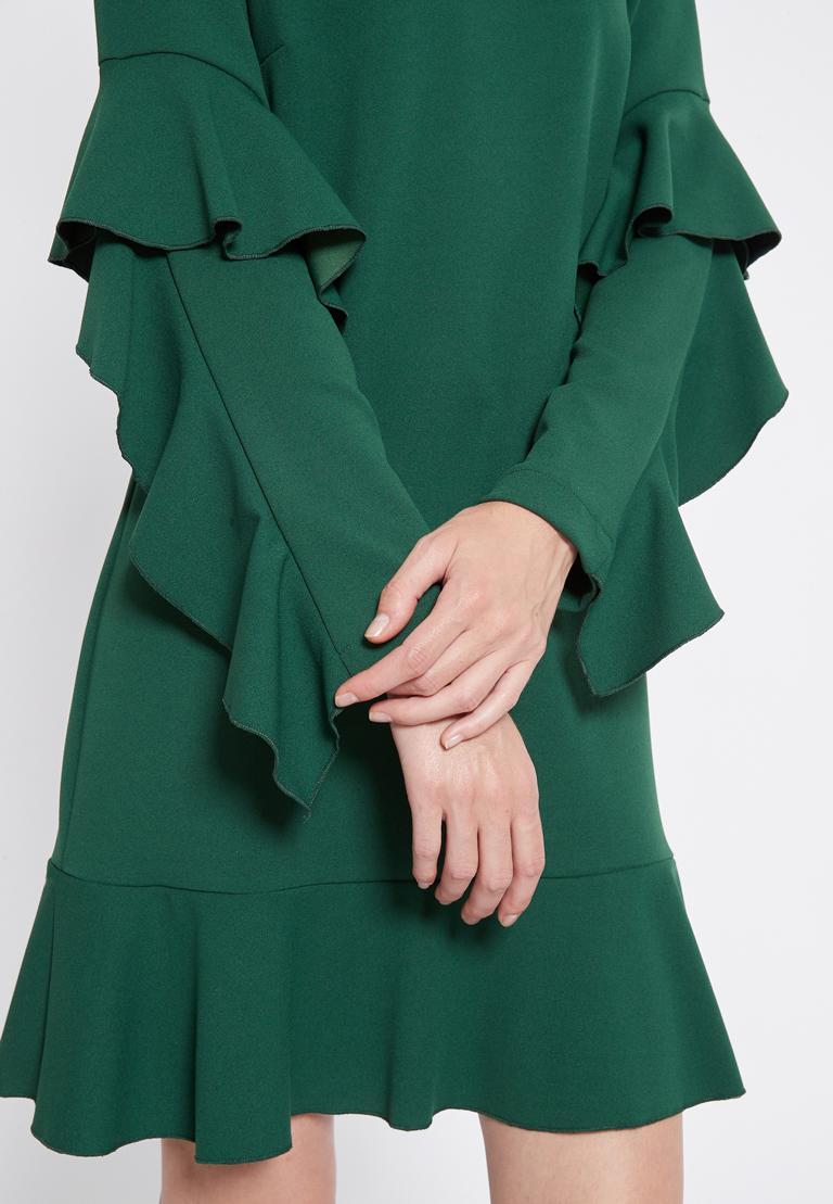 Detailansicht von Ana Alcazar Volantärmel Kleid Romya Grün