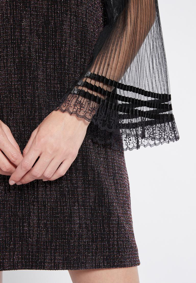 Detailansicht von Ana Alcazar Glitter Plissee Kleid Rafys