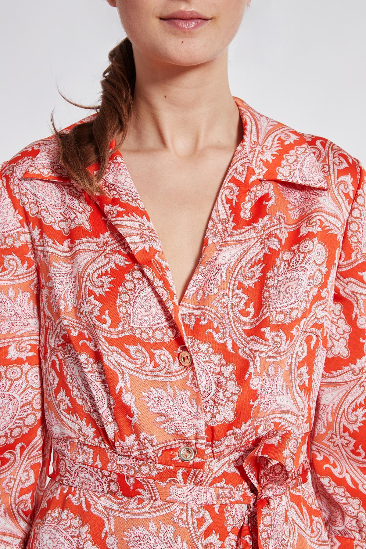 Detailansicht von Ana Alcazar Midi Kleid Tefrole Rot