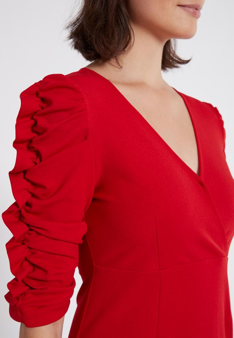 Detailansicht von Ana Alcazar Kleid mit Raffung Peane Rot