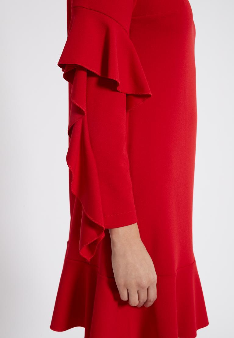 Detailansicht von Ana Alcazar Volantärmel-Kleid Philie Rot