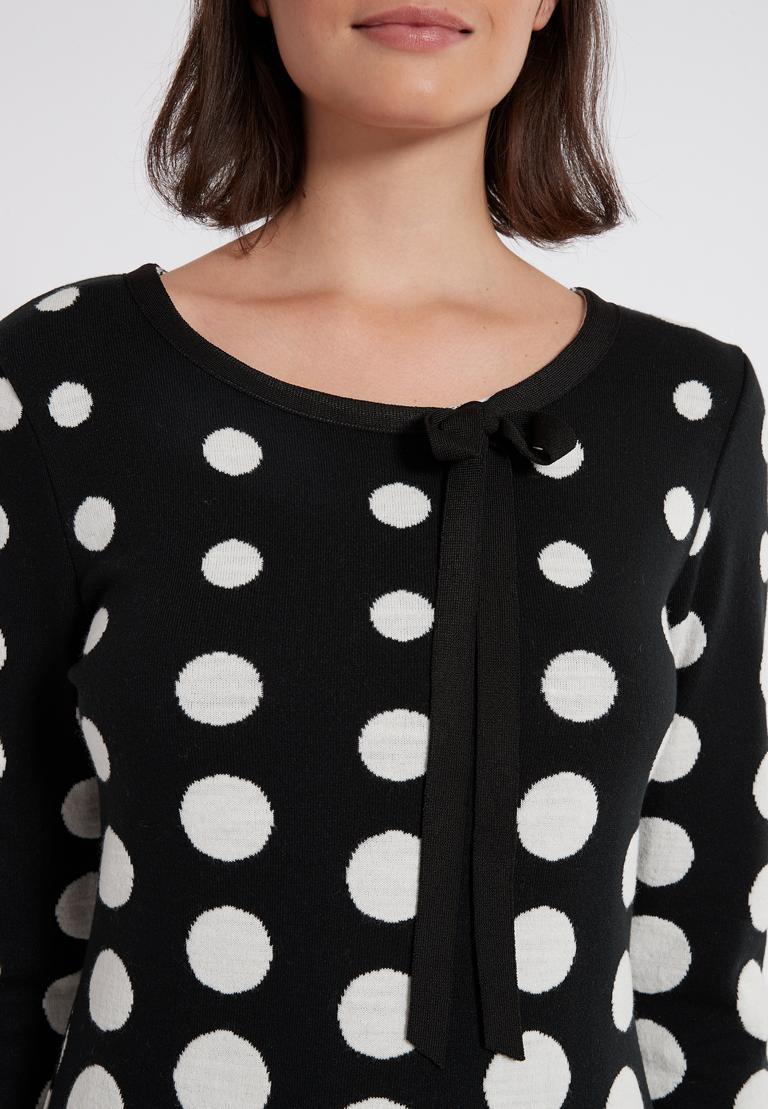 Detailansicht von Ana Alcazar Schleifen Kleid Peika Schwarz-Weiß