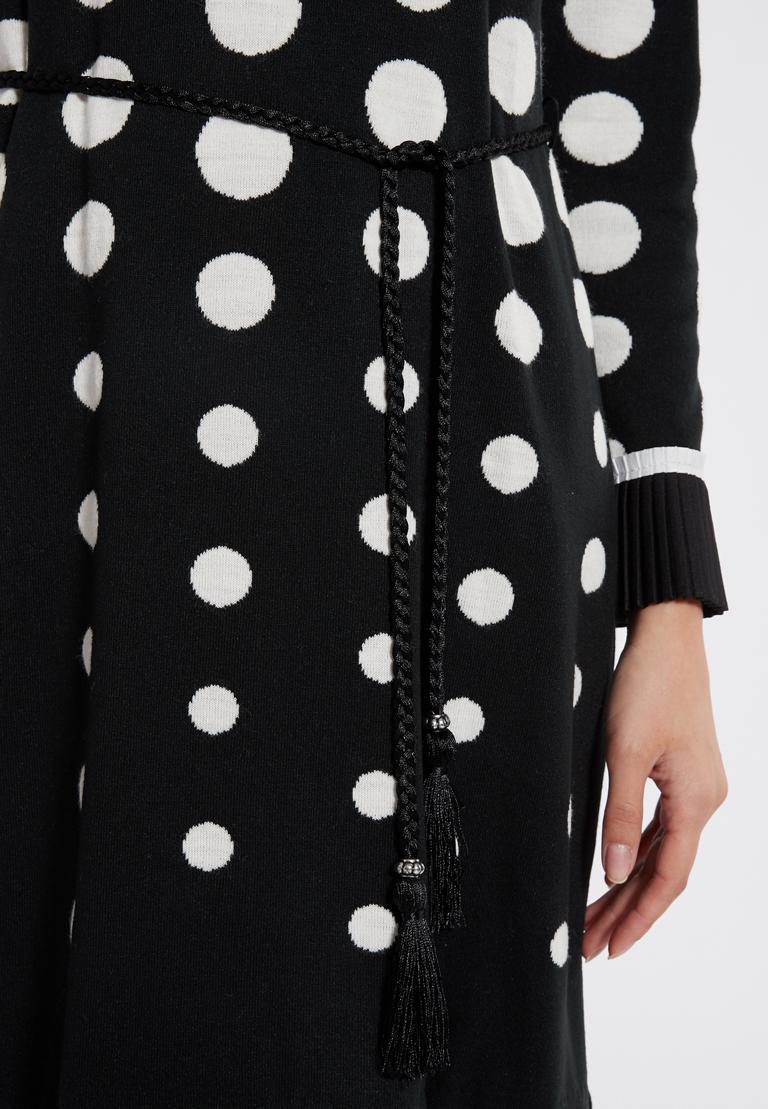 Detailansicht von Ana Alcazar Langarm-Kleid Priya Schwarz-Weiß